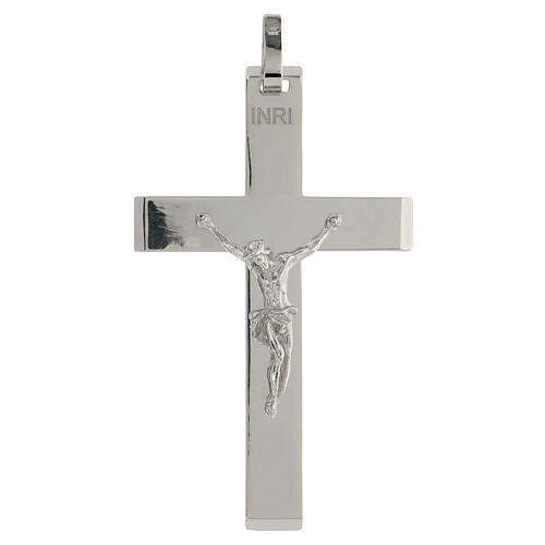 Cruz episcopal plata lúcida 925 cuerpo Cristo relieve 1