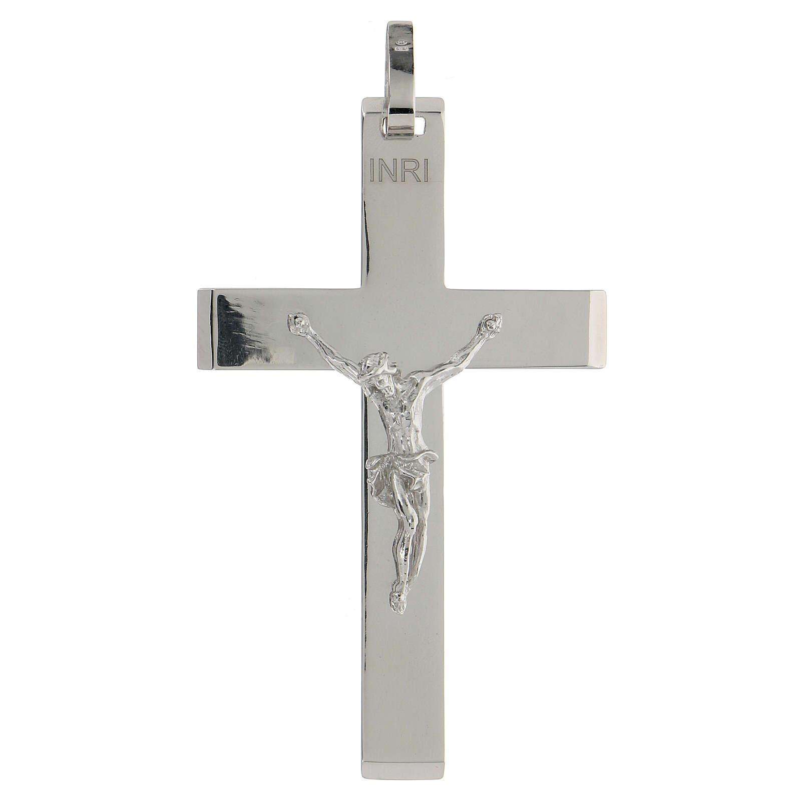 Croix épiscopale argent brillant 925 corps Christ relief 3