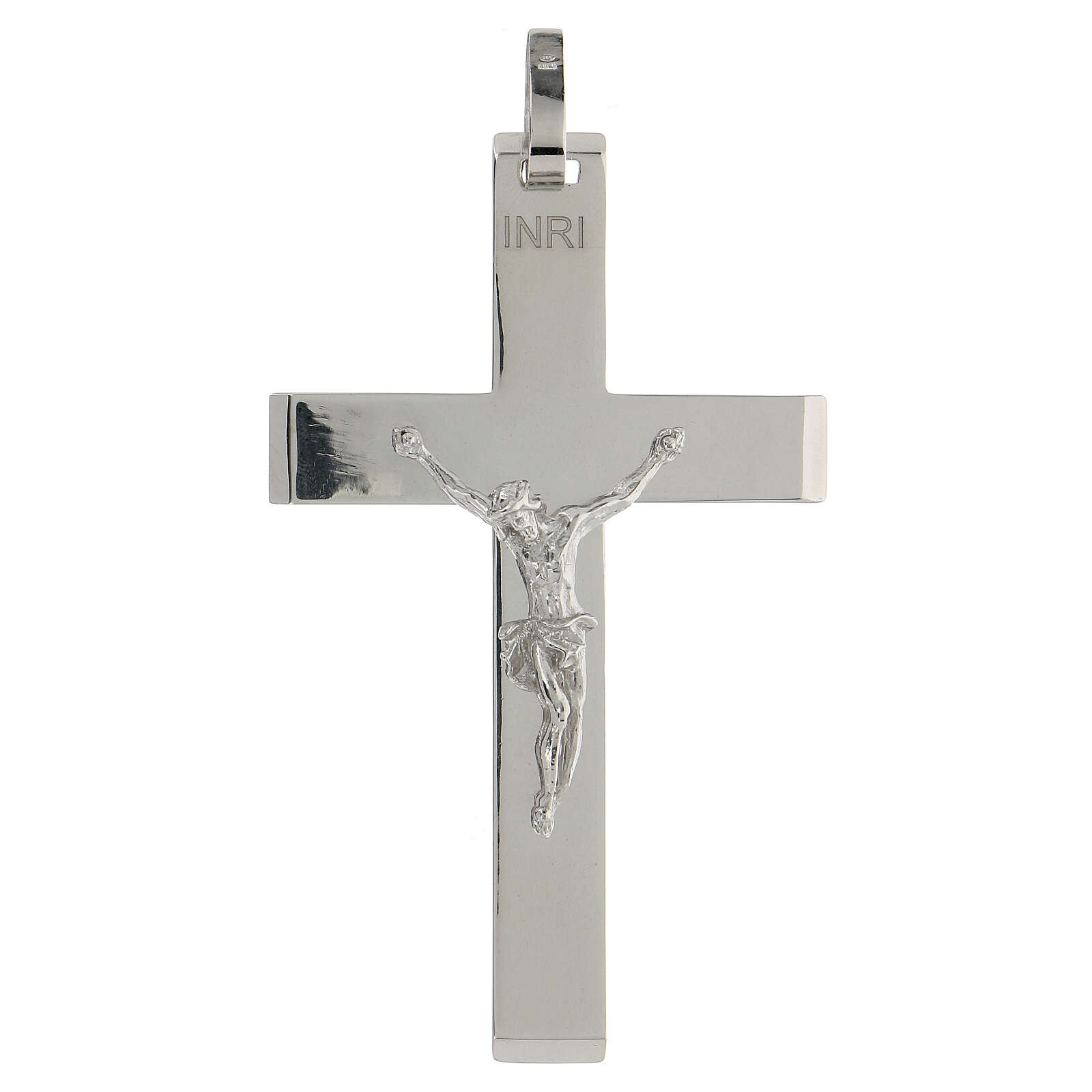 Croce vescovile argento lucido 925 corpo Cristo rilievo 3