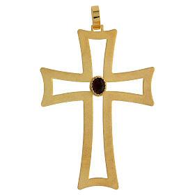 Croce vescovo traforata argento 925 dorato satinato ametista s1