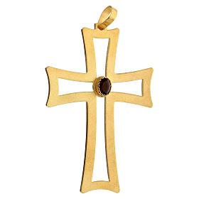 Croce vescovo traforata argento 925 dorato satinato ametista s2