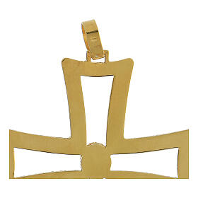 Croce vescovo traforata argento 925 dorato satinato ametista s3