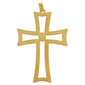 Croce vescovo traforata argento 925 dorato satinato ametista s4