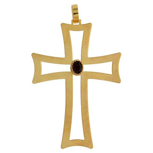 Croce vescovo traforata argento 925 dorato satinato ametista 1