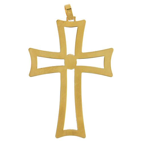Croce vescovo traforata argento 925 dorato satinato ametista 4