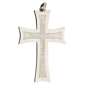 Cruz pectoral plata motivos abstractos blancos plata sterling s2