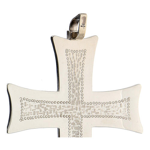 Croix pectorale argent 925 décorations abstraites blanches 3