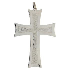Croce pettorale argento decori astratti bianchi argento sterling s1