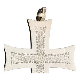 Croce pettorale argento decori astratti bianchi argento sterling s3