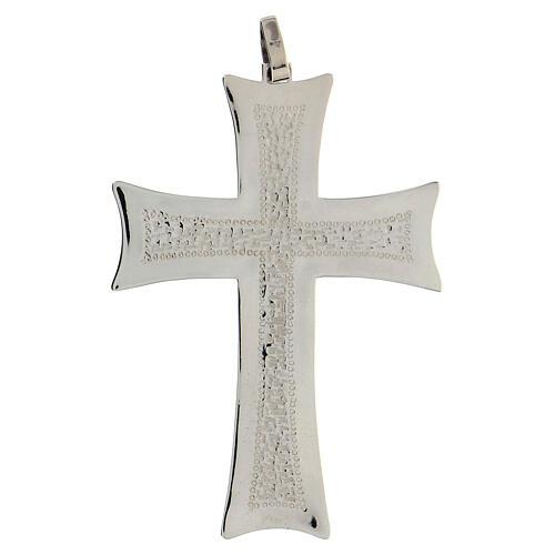Croce pettorale argento decori astratti bianchi argento sterling 1