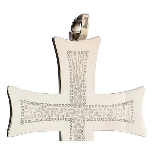 Croce pettorale argento decori astratti bianchi argento sterling 3
