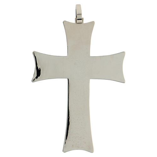 Croce pettorale argento decori astratti bianchi argento sterling 4