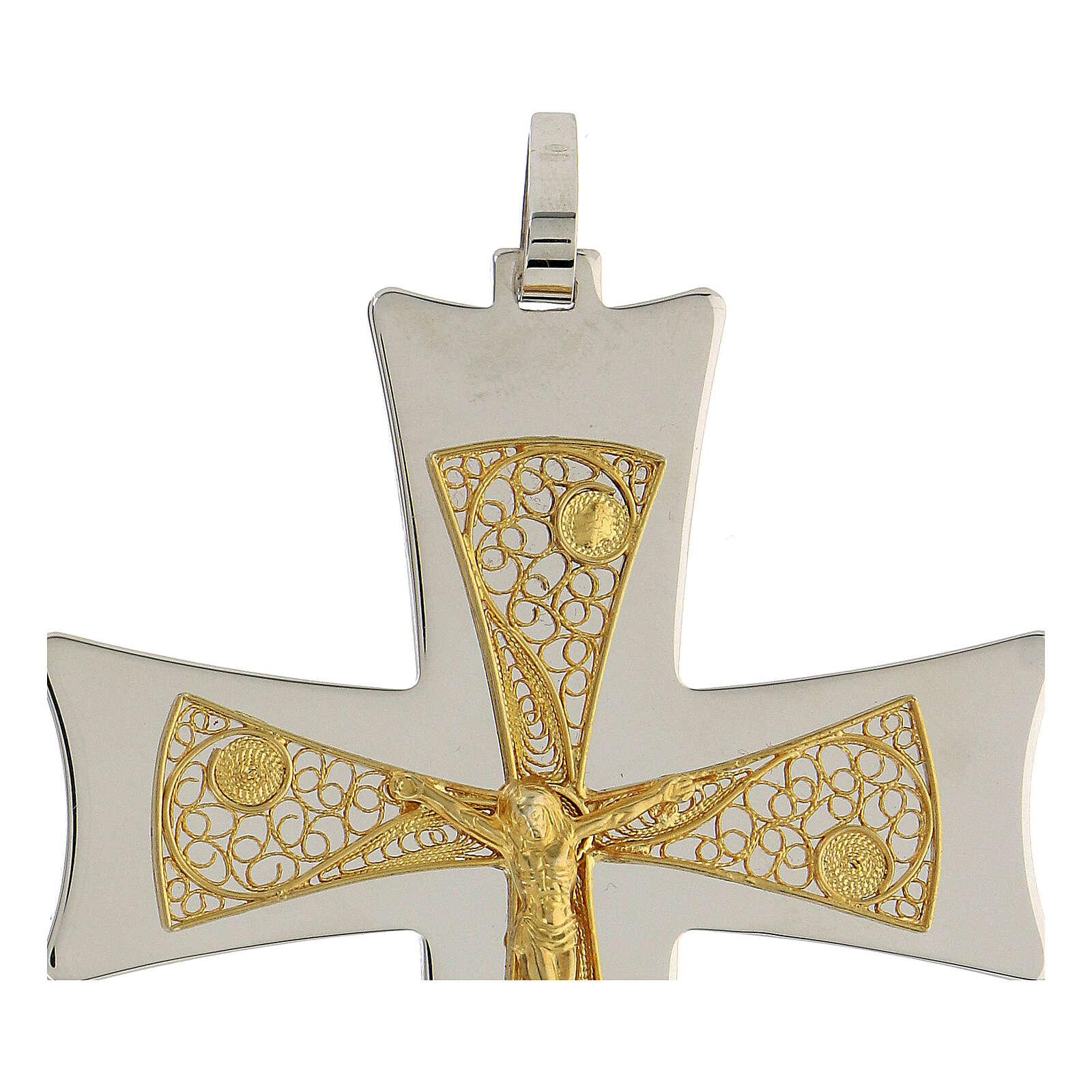 Cruz obispo plata 925 bicolor filigrana dorada 9,5x6,5 cm 3
