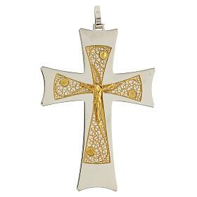 Cruz obispo plata 925 bicolor filigrana dorada 9,5x6,5 cm s1