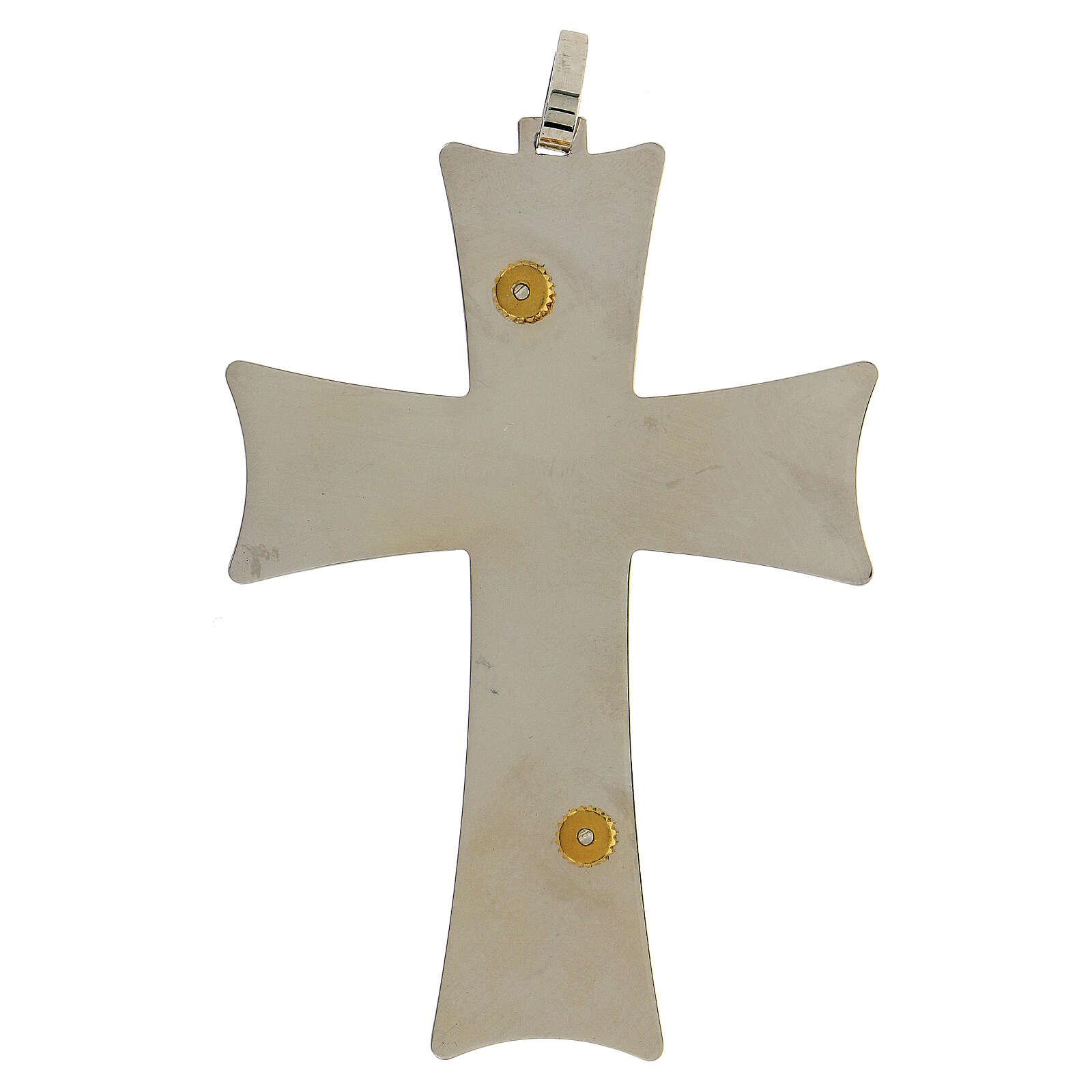 Croix épiscopale argent 925 bicolore filigrane dorée 9,5x6,5 cm 3