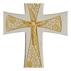 Croix épiscopale argent 925 bicolore filigrane dorée 9,5x6,5 cm s2