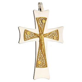 Croix épiscopale argent 925 bicolore filigrane dorée 9,5x6,5 cm s3