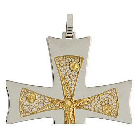 Croix épiscopale argent 925 bicolore filigrane dorée 9,5x6,5 cm s4