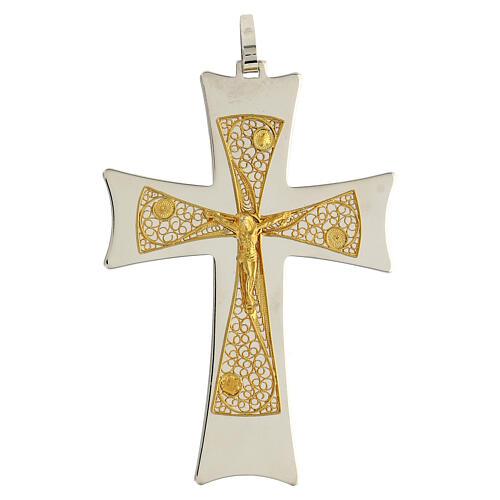 Croix épiscopale argent 925 bicolore filigrane dorée 9,5x6,5 cm 1