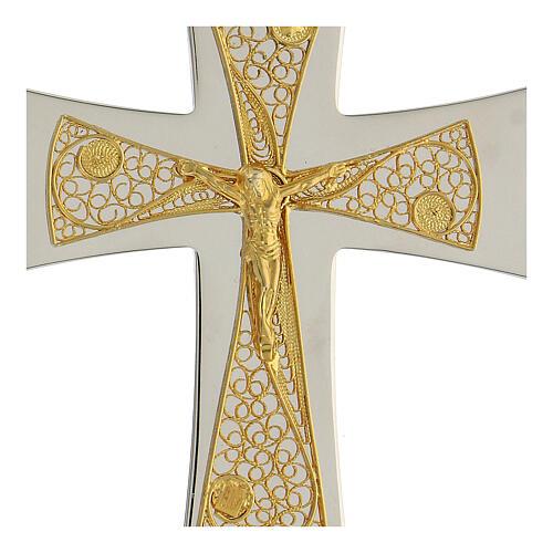 Croix épiscopale argent 925 bicolore filigrane dorée 9,5x6,5 cm 2