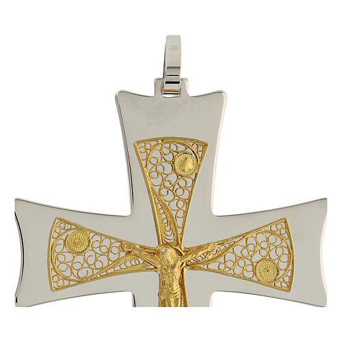 Croix épiscopale argent 925 bicolore filigrane dorée 9,5x6,5 cm 4
