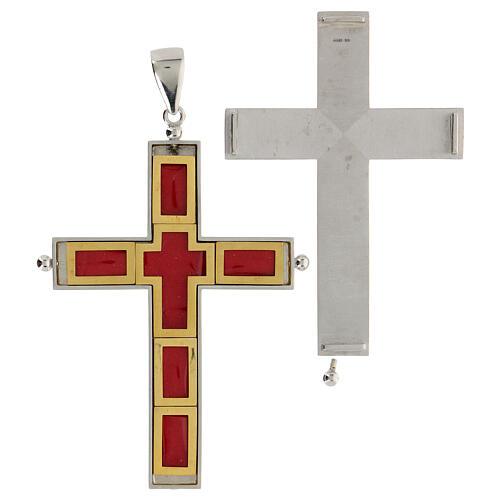 Croix épiscopale reliquaire argent 925 ouvrante 2