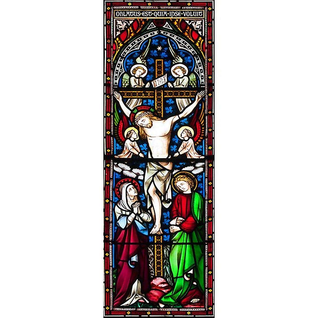 Vetrofania Crocefissione con angeli 10,5X30 cm 3
