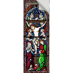 Vetrofania Crocefissione con angeli 10,5X30 cm s2