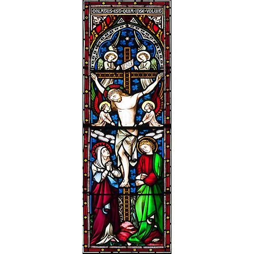 Vetrofania Crocefissione con angeli 10,5X30 cm 1