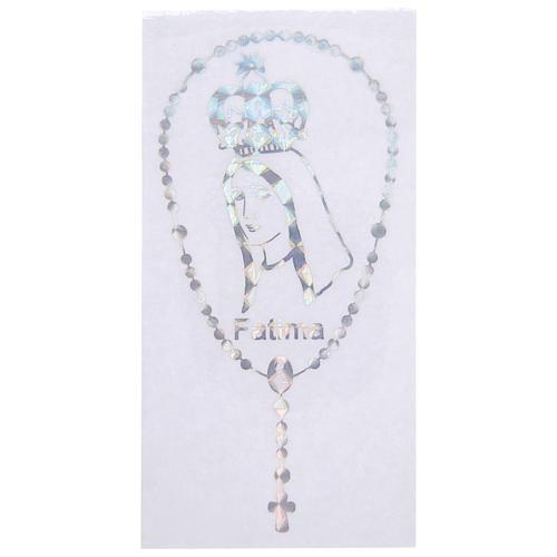 Autocollant prismatique pour vitre avec couronne et Notre-Dame de Fatima 1