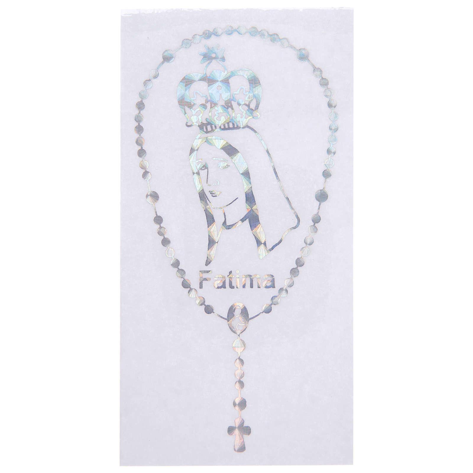 Adesivo Prismatico per vetro con corona e Madonna di Fatima 3