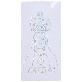 Autocollant prismatique pour vitre avec Notre-Dame de Fatima 6x12 cm s1
