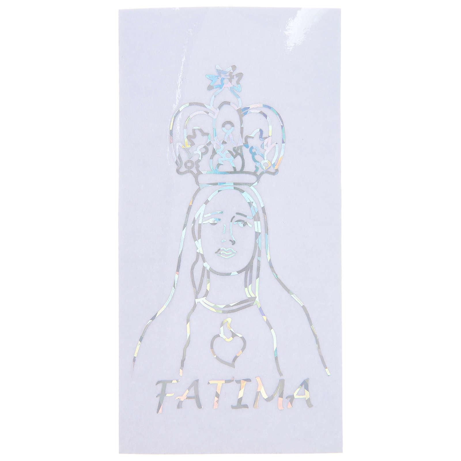 Adesivo Prismatico per vetro con Madonna di Fatima 6x12 cm 3