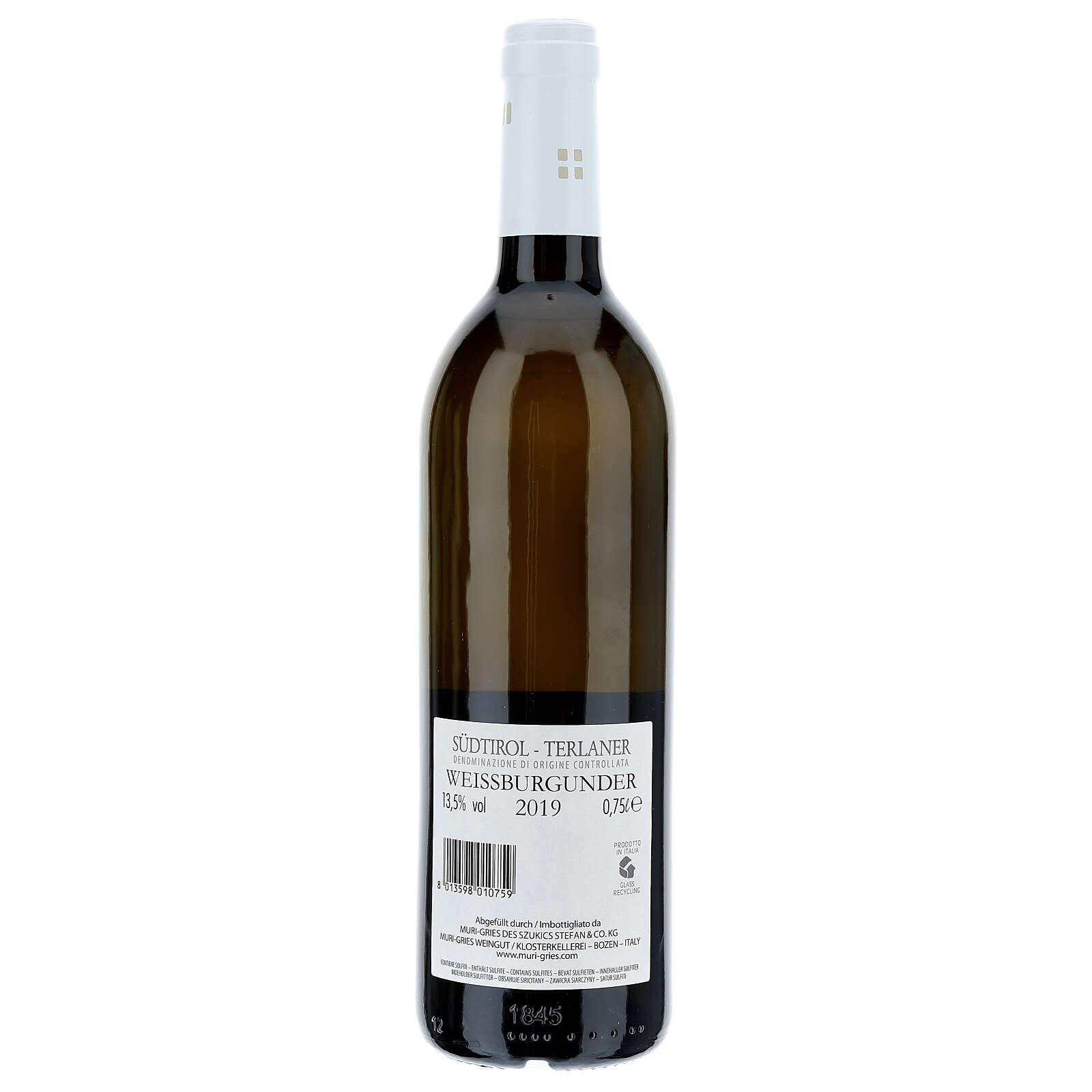 Vino Pinot Bianco di Terlano DOC 2019 Abbazia Muri Gries 750 ml 3