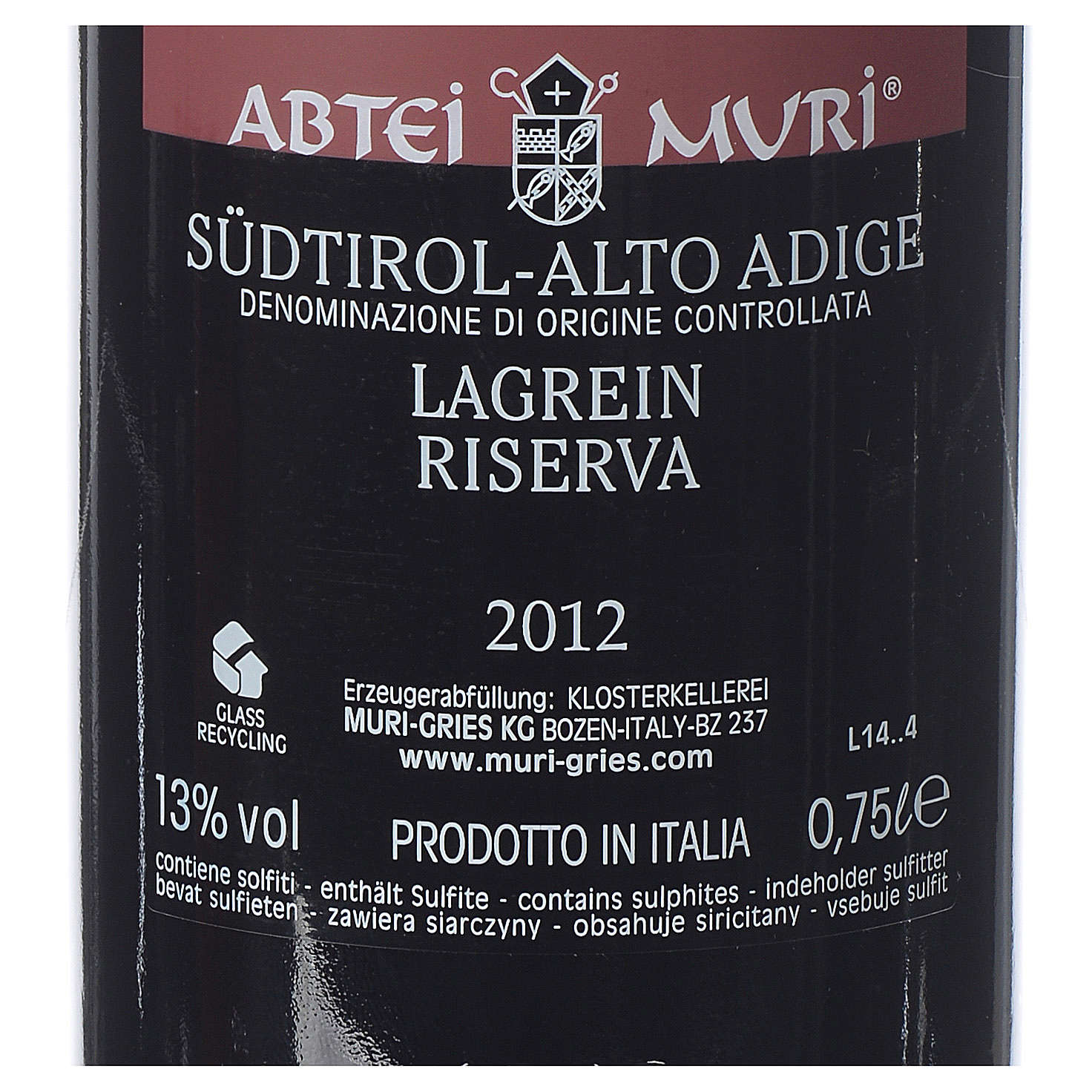 Vino Lagrein Riserva DOC 2012 Abbazia Muri Gries 750 ml 3