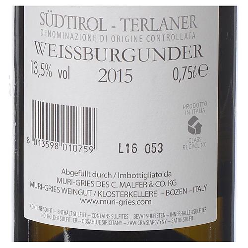 Vino Pinot Bianco di Terlano DOC 2015 Abbazia Muri Gries 750 ml 2
