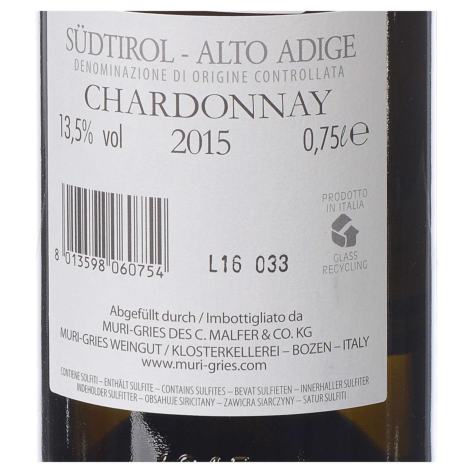 Vino Chardonnay DOC 2015 Abbazia Muri Gries 750 ml 3