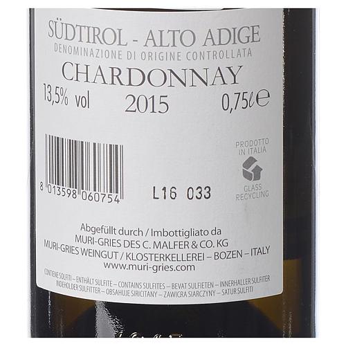 Vino Chardonnay DOC 2015 Abbazia Muri Gries 750 ml 2