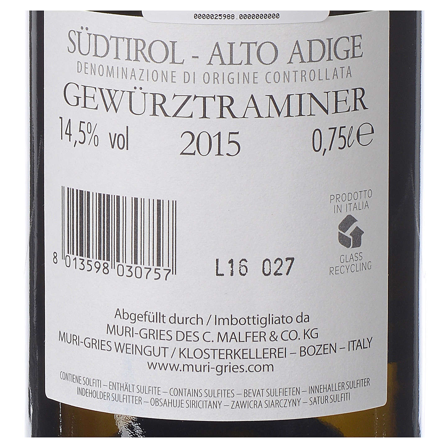 Traminer Aromatico DOC white wine Muri Gries Abbey 2015 3