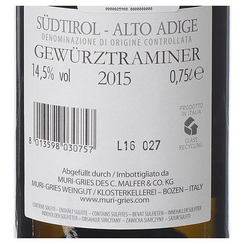 Traminer Aromatico DOC white wine Muri Gries Abbey 2015 2