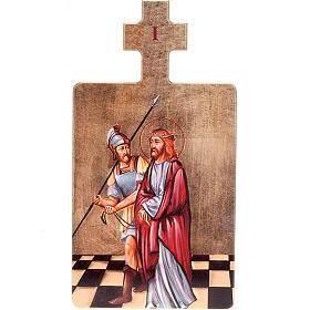 Vía Crucis: Cuadros estaciones Vía Crucis 15 piezas madera