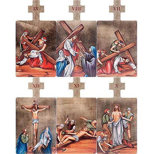 Quadri Stazioni Via Crucis 15 pezzi legno 5