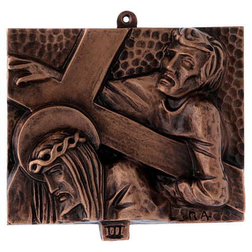 Way of the Cross in hammered bronze, 15 stations 3