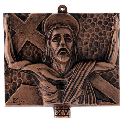 Way of the Cross in hammered bronze, 15 stations 15