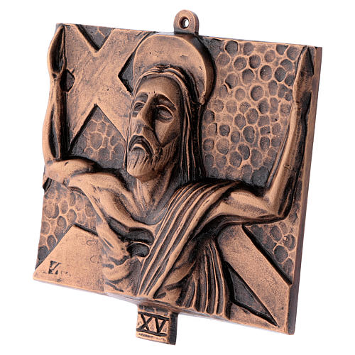 Way of the Cross in hammered bronze, 15 stations 16
