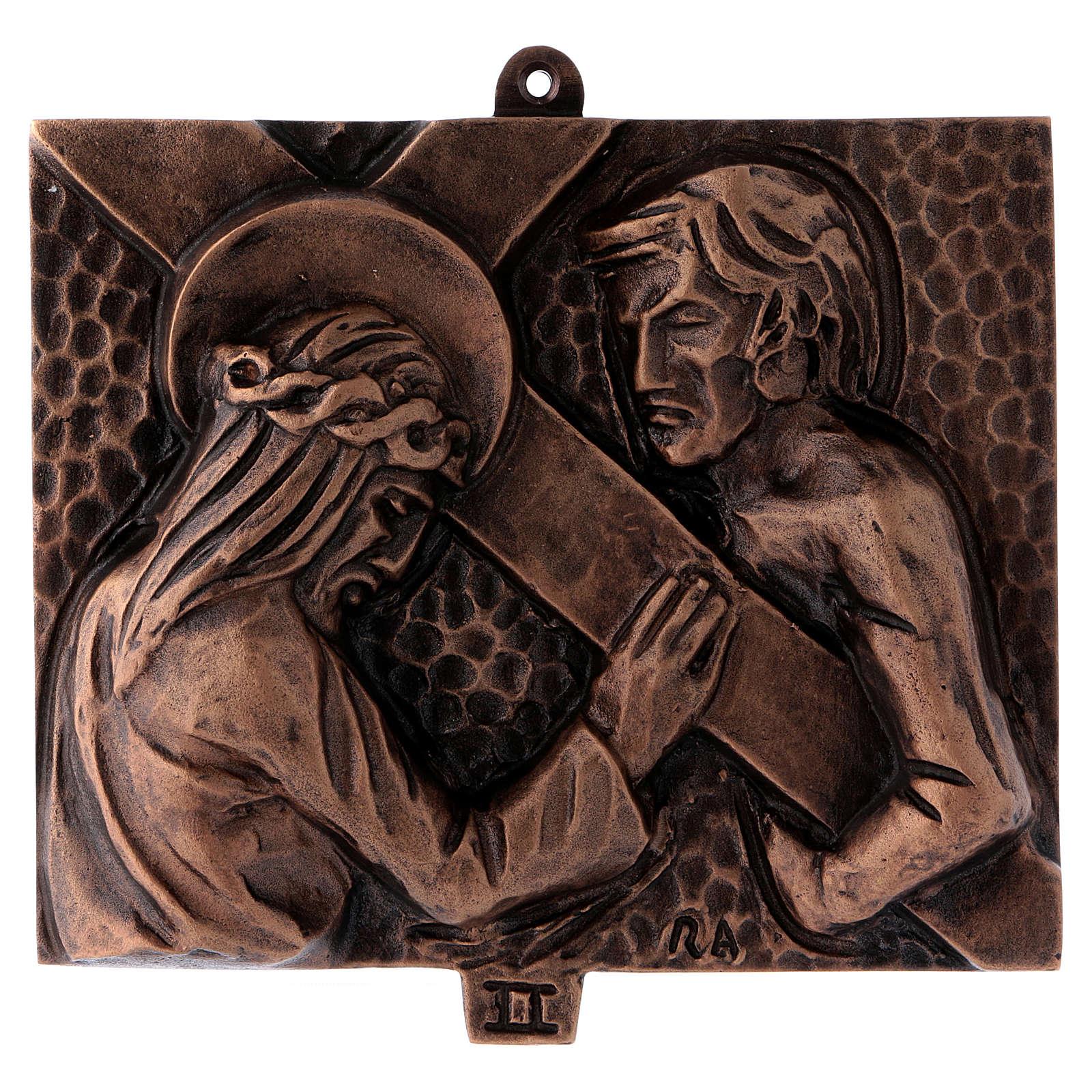 Cuadros estaciones Vía Crucis 15 piezas bronce martillado 4