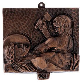 Cuadros estaciones Vía Crucis 15 piezas bronce martillado s11