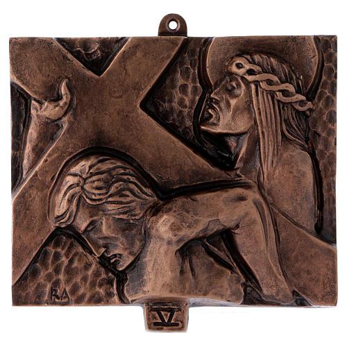Cuadros estaciones Vía Crucis 15 piezas bronce martillado 5