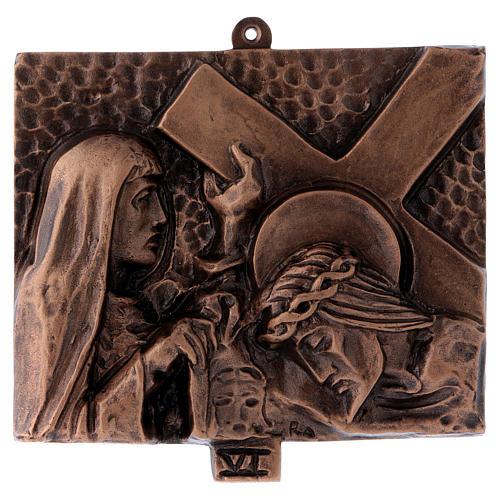 Cuadros estaciones Vía Crucis 15 piezas bronce martillado 6