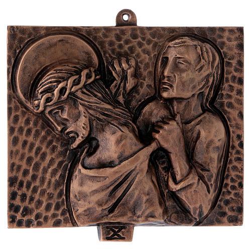 Cuadros estaciones Vía Crucis 15 piezas bronce martillado 10